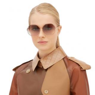 Linda Farrow Oversized hexagonal-frame sunglasses