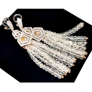 William & Son Diamond & Removable Rock Crystal Drop Earrings