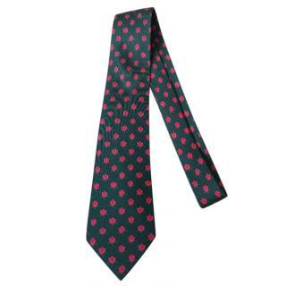 Hermes Green Rose Print Silk Vintage Tie