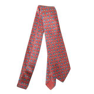 Hermes Vintage Cabbage & Snail Print Silk Tie