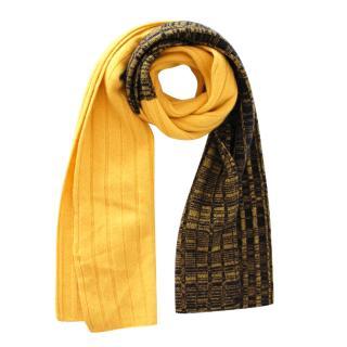 Sportmax Yellow & Black Cashmere Scarf