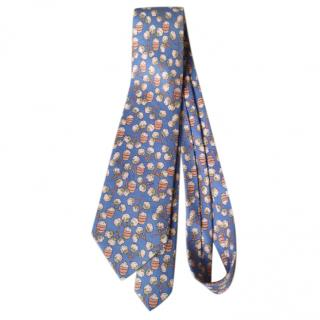 Hermes Blue Cotton/Blossom Vintage Silk Tie