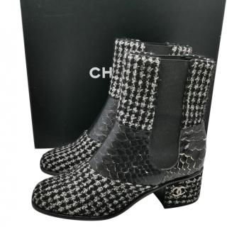 Chanel Black & White Tweed & Python Ankle Boots