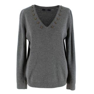 Uterque Charcoal Knit Wool Blend Studded Jumper