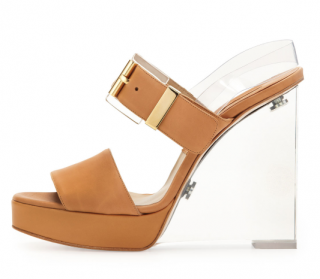 Michael Kors Brown Carmela Clear Heel Wedge