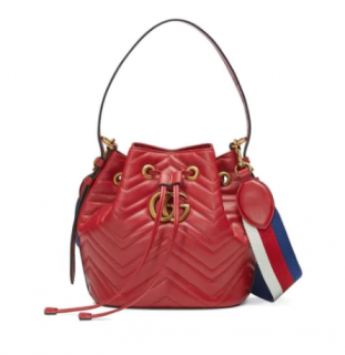 Gucci Red Marmont Drawstring Bucket with Leather & Webstripe Straps