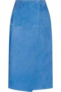 Protagonist bright blue velvety suede wrap-effect skirt