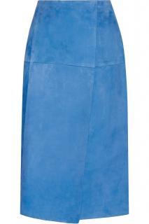 Protagonist bright blue velvety suede wrap-effect skirt