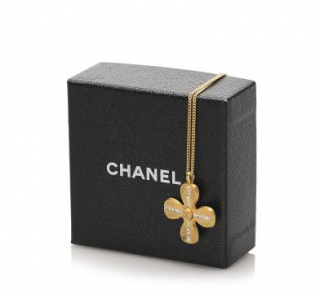 Chanel Gold Tone Crystal Clover Necklace