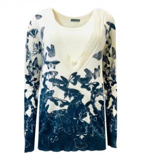 Alexander McQueen Butterfly Print Cashmere & Silk Twinset