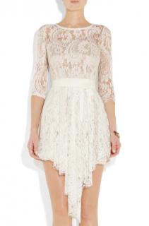 Love Cream Serpent lace asymmetric mini dress