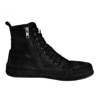 Ann Demeulemeester black velvet ankle boots