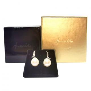 Annoushka diamond and Baraque pearl drop earrings