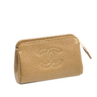 Chanel Beige Vintage CC Caviar Leather Pouch