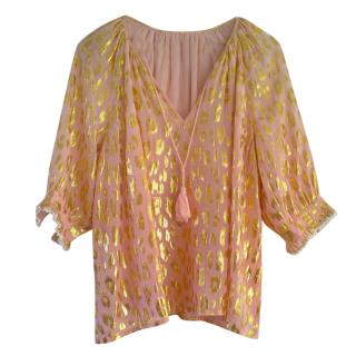 Manoush Peach/Gold Silk Blend Blouse