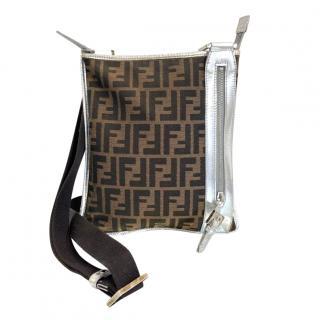 Fendi Metallic Silver Panelled Monogram Canvas Shoulder Bag