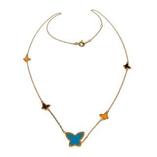 Bespoke Yellow Gold Enamel Butterfly Pendant Necklace
