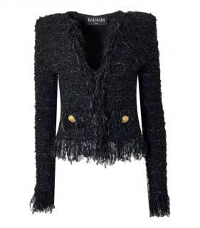 Balmain Metallic Tweed Fringed Jacket