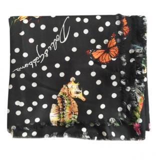 Dolce & Gabbana Cashmere & Silk Blend Polka Dot Butterfly Print Scarf