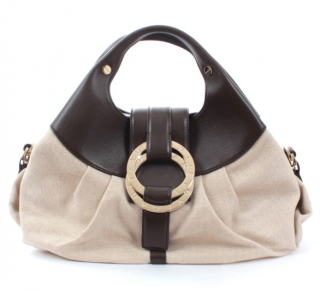 Bvlgari Leather & Canvas Chandra top handle bag