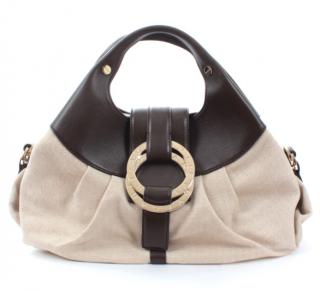 Bvlgari Leather & Canvas Chandra top handle bag