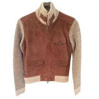 Ralph Lauren Blue Label Suede Jacket with Knit Sleeves