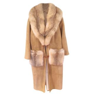 Ermanno Scervino Sheepskin Coat with Fox Fur Collar