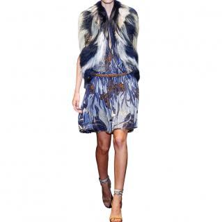 Gucci Blue Crystal Embellished Patchwork Fur Jacker
