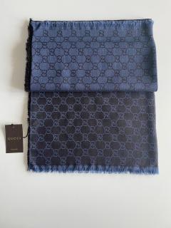 Gucci Blue Wool & Silk Monogram Scarf