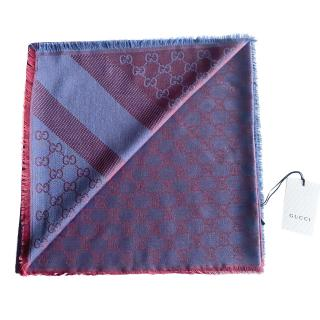 Gucci Pink/Blue Monogram Wool & Silk Scarf