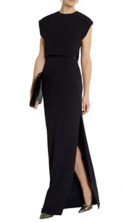 Adam Lippes Navy & Black Lace Detailed Crepe Overlay Gown