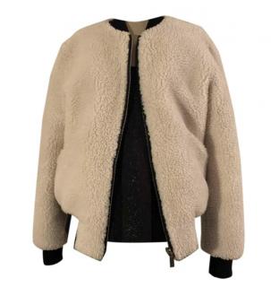 Barbara Bui Shearling & Leather Bomber Jacket