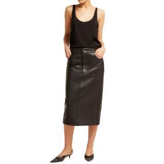 Raey Black Tumbled Leather Midi Skirt