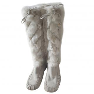 Celine Vintage Grey Suede & Rabbit Fur Moccasin Tall Boots