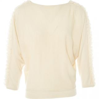Giambattista Valli Cream Cashmere, Wool & Silk Ruffle Sleeve Jumper