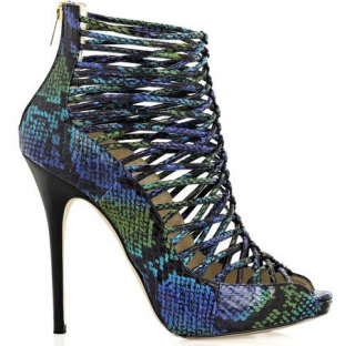 Jimmy Choo Blue Snakeskin Caged Booties