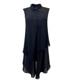 Alexander Wang Black Sheer Sleeveless Longline Blouse