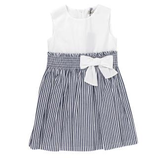 Jo Milano Blue & White Bow Applique Striped Dress