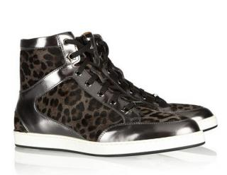 Jimmy Choo Tokyo leopard-print calf hair/mirrored-leather sneakers
