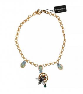 Dolce & Gabbana Gold Tone Crystal Embellished Necklace