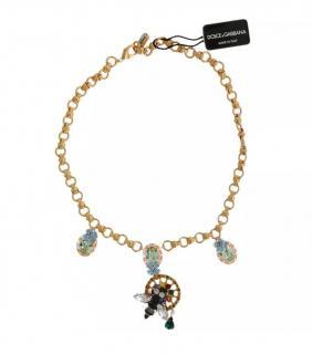 Dolce & Gabbana Gold Tone Crystal Embellished Necklace