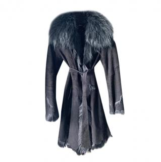 REDUCED PRICE !Bespoke Fox Fur Lined Black Suede Belted Coat