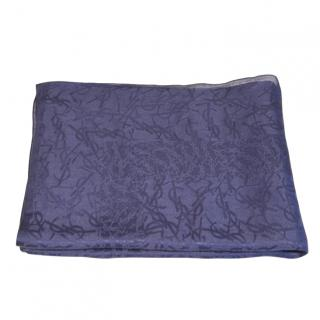 Yves Saint Laurent Blue Logo Print Silk Blend Scarf