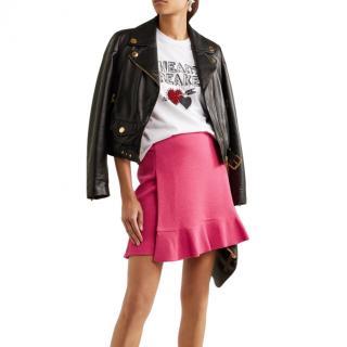 Boutique Moschino Pink Ruffled Crepe Mini Skirt