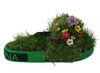 Dolce & Gabbana Faux Grass Floral Embellished Slides