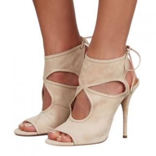 Aquazzura Beige Suede Sexy Thing Cut-Out Sandals