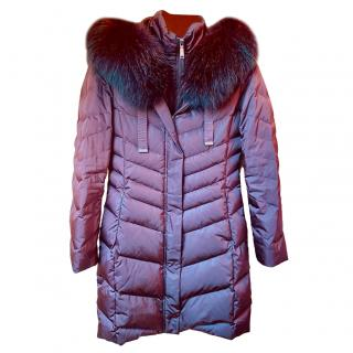 Elie Tahari Purple Raccoon Fur Trimmed Parka