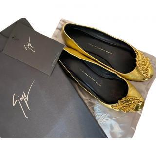 Giuseppe Zanotti Gold Leather Embellished Ballerinas