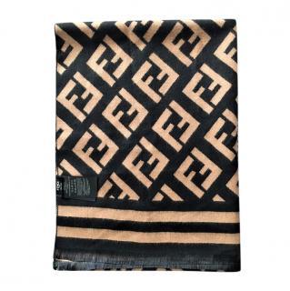 Fendi Black/Camel FF Wool & Silk Shawl