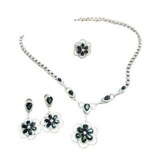 Bespoke 18ct White Gold Diamond & Sapphire Floral Jewellery Suite